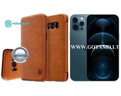 Nillkin Qin odinis dėklas Apple iPhone 12 Pro Max telefonui rudos spalvos