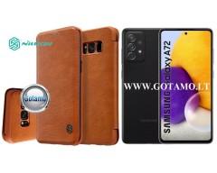 Nillkin Qin odinis dėklas Samsung Galaxy A72 telefonui rudos spalvos