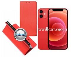 Re-Grid magnetinis dėklas Apple iPhone 12 mini mobiliesiems telefonams raudonos spalvos