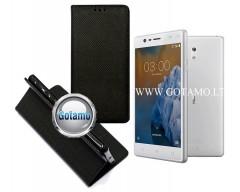 Re-Grid magnetinis dėklas Nokia 3 telefonams juodos spalvos