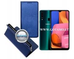 Re-Grid magnetinis dėklas Samsung Galaxy A20s telefonams mėlynos spalvos