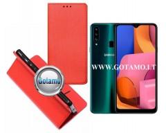 Re-Grid magnetinis dėklas Samsung Galaxy A20s telefonams raudonos spalvos
