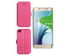 Slim Diary dėklas Samsung Galaxy S6 edge+ mobiliesiems telefonams rožinės spalvos