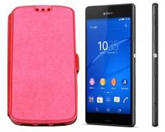 Slim Diary dėklas Sony Xperia E3 mobiliesiems telefonams rožinės spalvos