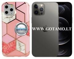 Tiles dėklas nugarėlė Apple iPhone 12, Apple iPhone 12 Pro telefonams rožinės spalvos